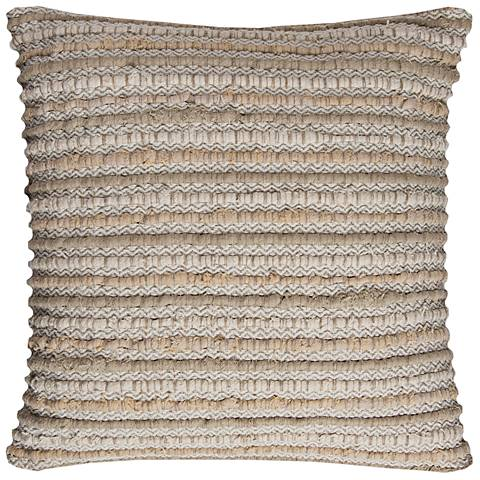"""Natural Stripe Textured 20"""" Square Decorative Filled Pillow"""