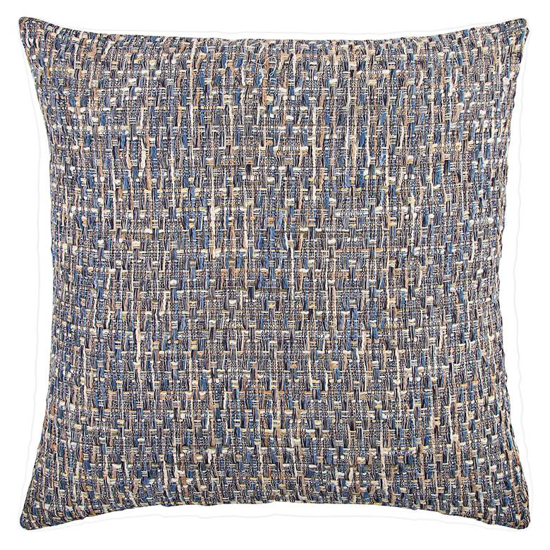"""Navy All Over Threaded 22"""" Square Decorative Filled Pillow"""