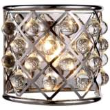 "Madison 10 1/2"" High Nickel Wall Sconce w/ Smooth Crystals"