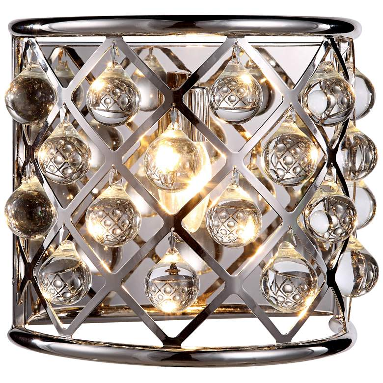 """Madison 10 1/2"""" High Nickel Wall Sconce w/ Smooth Crystals"""