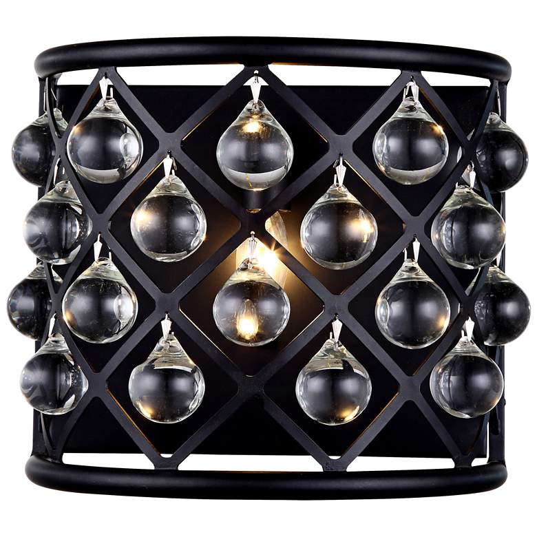 "Madison 10 1/2""H Matte Black Wall Sconce w/ Smooth Crystals"