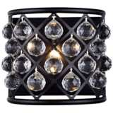 "Madison 10 1/2""H Matte Black Wall Sconce w/ Faceted Crystals"