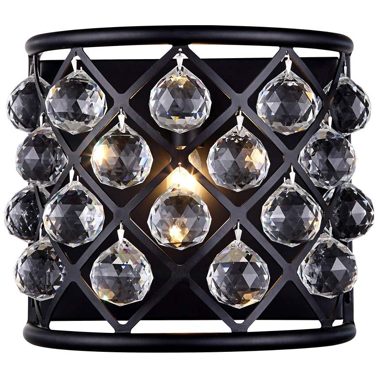"""Madison 10 1/2""""H Matte Black Wall Sconce w/ Faceted Crystals"""