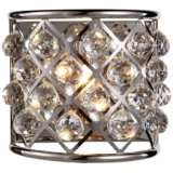 "Madison 10 1/2"" High Nickel Wall Sconce w/ Faceted Crystals"