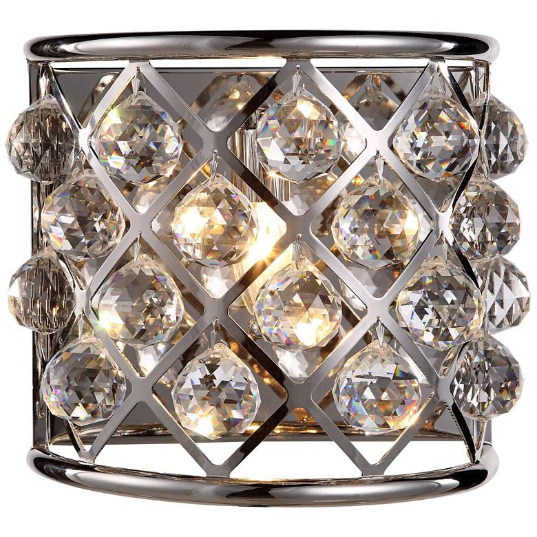 """Madison 10 1/2"""" High Nickel Wall Sconce w/ Faceted Crystals"""