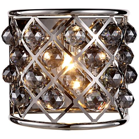 "Madison 10 1/2""H Nickel Wall Sconce w/ Silver Shade Crystals"
