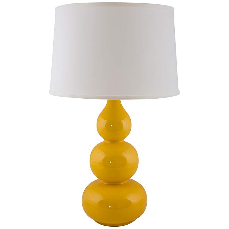 RiverCeramic® Triple Gourd Gloss Curry Yellow Table Lamp
