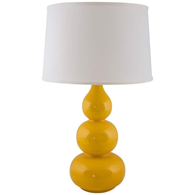 RiverCeramic® Triple Gourd Gloss Curry Yellow Table Lamp
