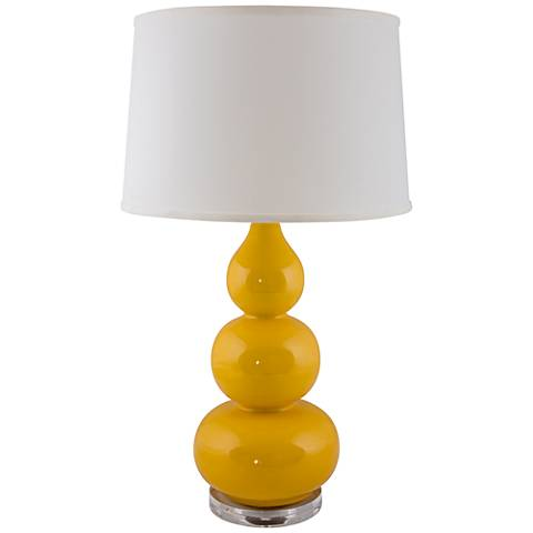 RiverCeramic® Triple Gourd Yellow Curry Table Lamp