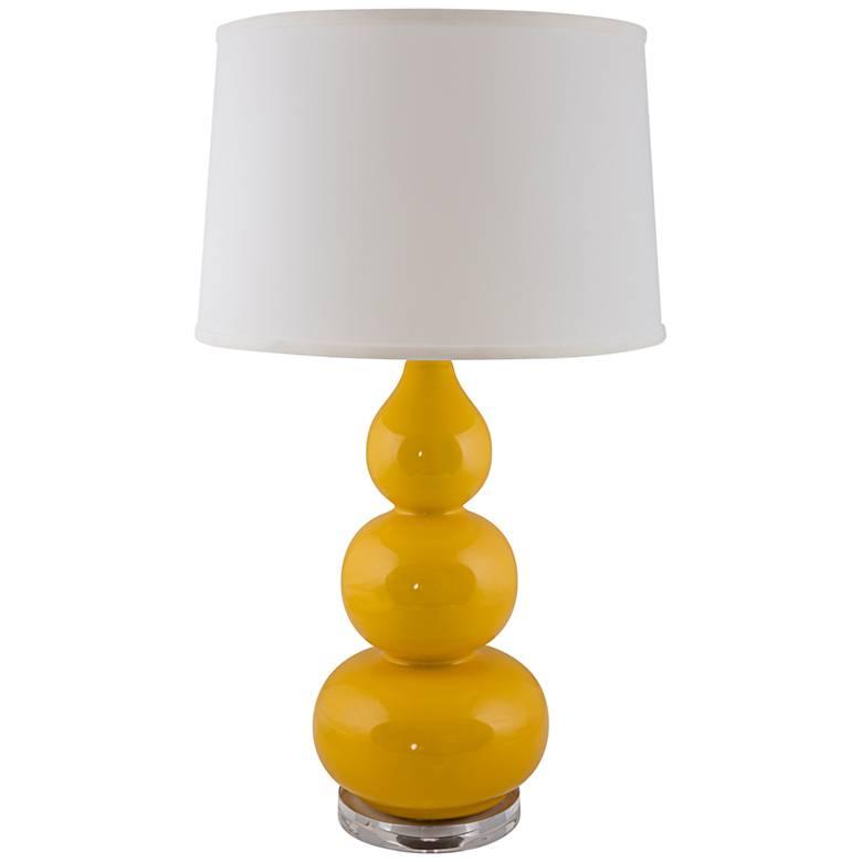 RiverCeramic® Triple Gourd Yellow Curry Table Lamp