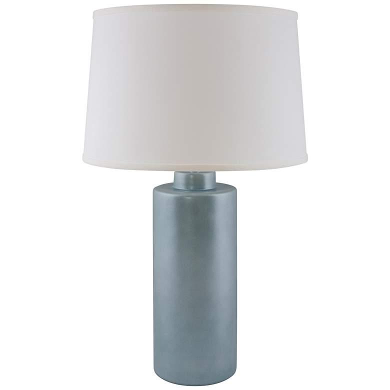 RiverCeramic® Cylinder Smoke Blue Pearl Table Lamp
