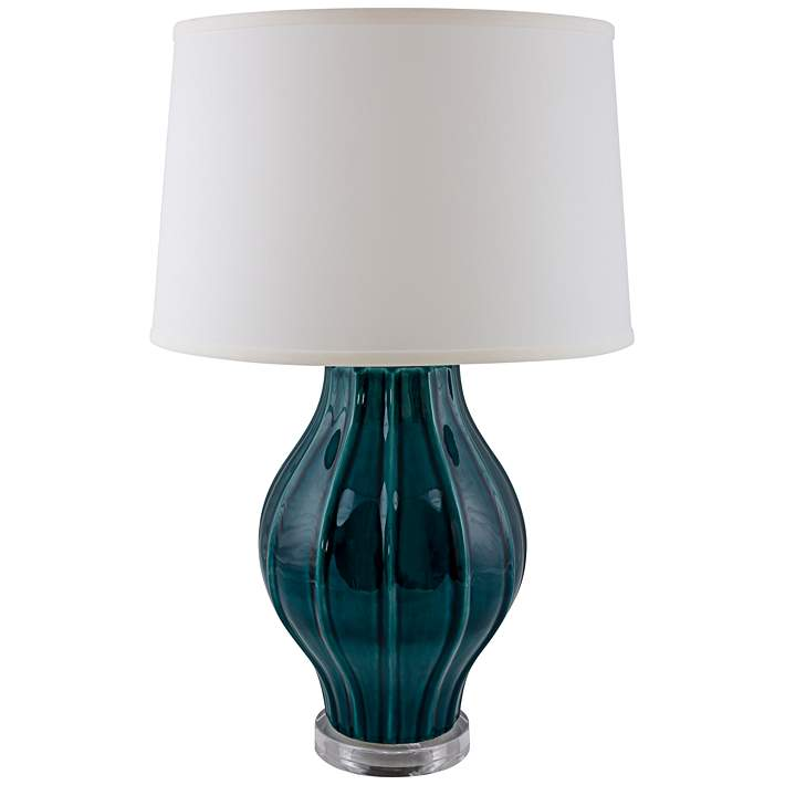 Large Fluted Tropical Turquoise Table Lamp With Acrylic Base