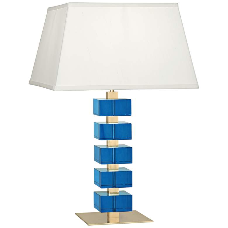 Jonathan Adler Monaco Brass and Turquoise Crystal Table Lamp