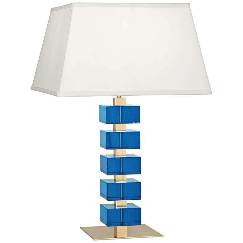 Jonathan Adler Monaco Brass and Turquoise Crystal Table Lamp