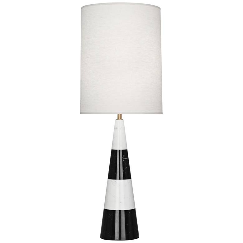 Canaan White and Black Tapered Table Lamp with Oyster Shade