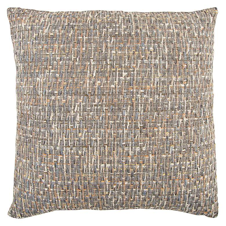 """Gray All Over Threaded 22"""" Square Decorative Filled Pillow"""