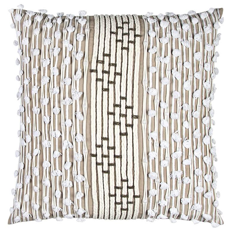 """White Stripe 20"""" Square Decorative Filled Pillow"""