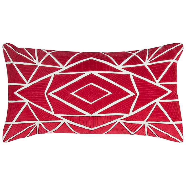 "Red Geometric Velvet 26"" x 14"" Decorative Filled Pillow"