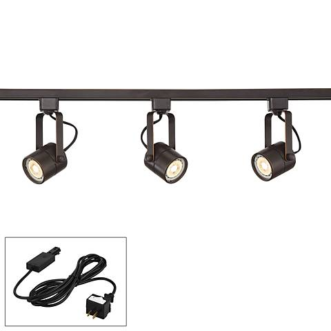 Linear 3-Light Bronze LED Bullet Track Kit w/ Cord and Connector