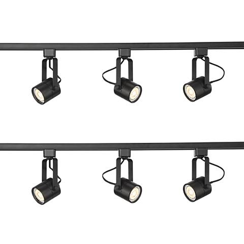 Two Linear 3-Light Black LED Bullet Track Kits w/Connector
