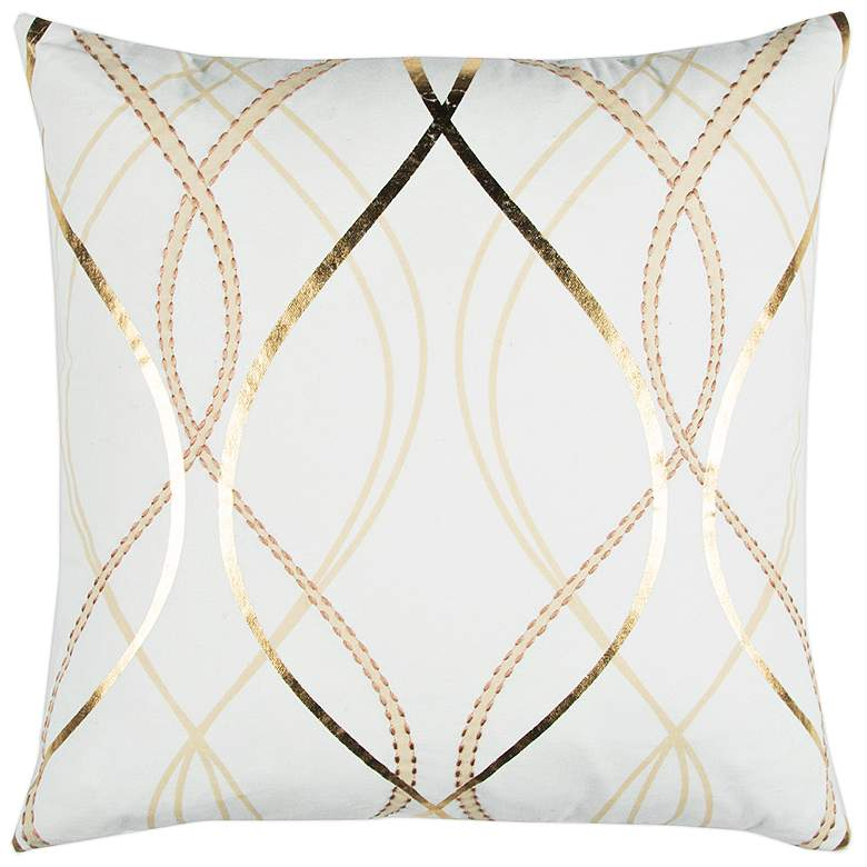 "Doh White and Gold Geometric 20"" Square Decorative"