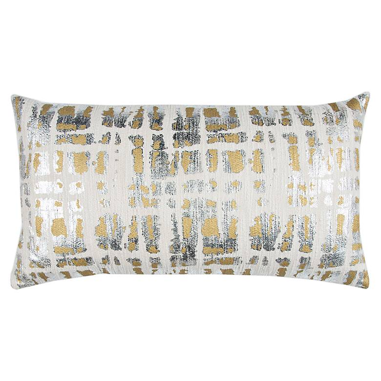 "Doh Natural and Gold Geometric 26"" x 14"" Decorative Pillow"