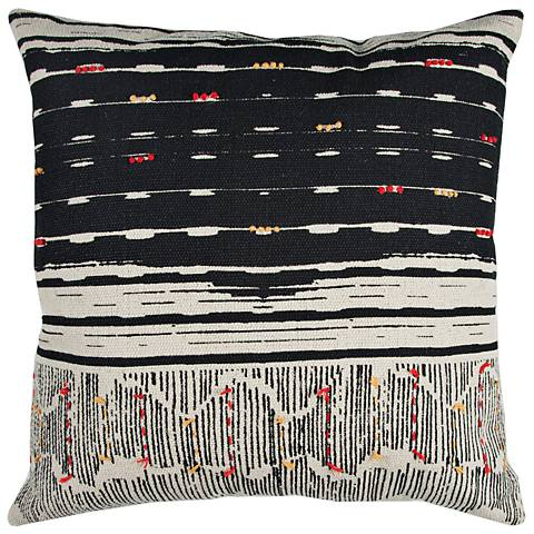 """Natural and Black Stripe 22"""" Square Decorative Filled Pillow"""