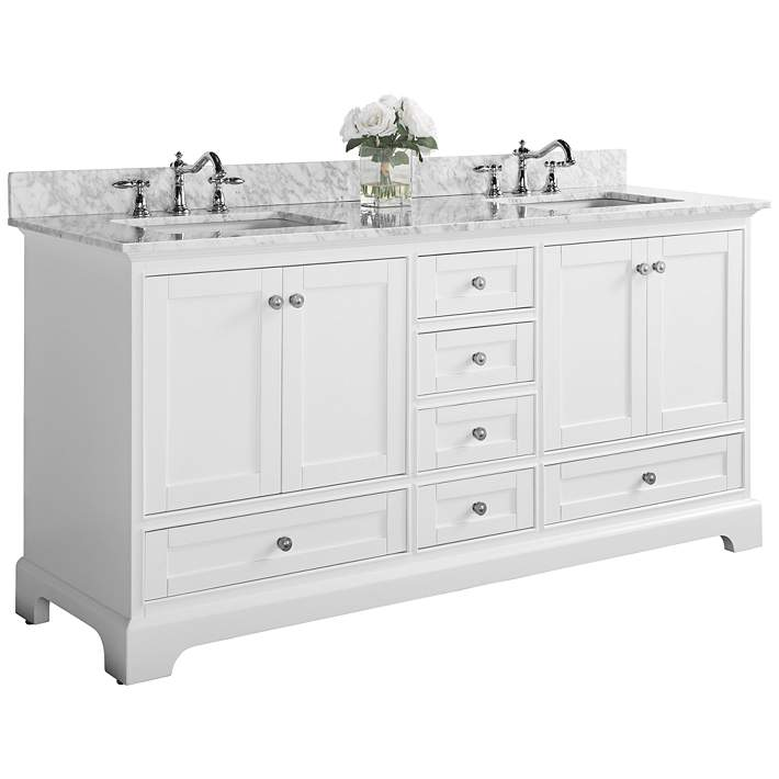 White 6 Drawer Double Sink Vanity