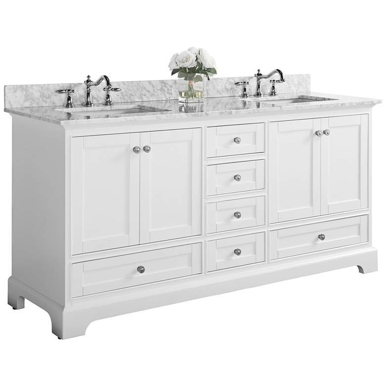 "Audrey 72"" White 6-Drawer Double Sink Vanity"