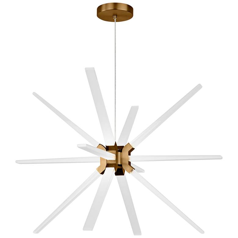 """Tech Lighting Photon 34"""" Wide Aged Brass 12-LED Chandelier"""