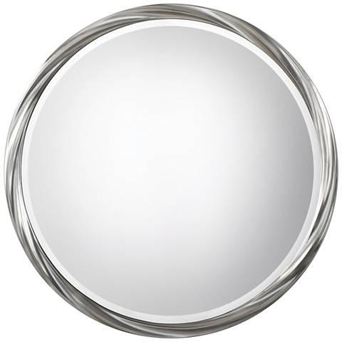 """Uttermost Orion Metallic Silver Leaf 36"""" Round Wall Mirror"""