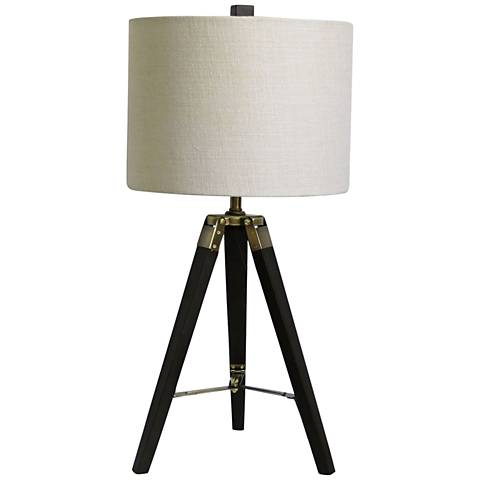 Manda Weathered Espresso and Antique Brass Tripod Table Lamp