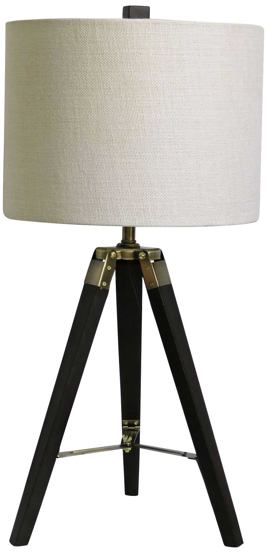 Exceptional Manda Weathered Espresso And Antique Brass Tripod Table Lamp