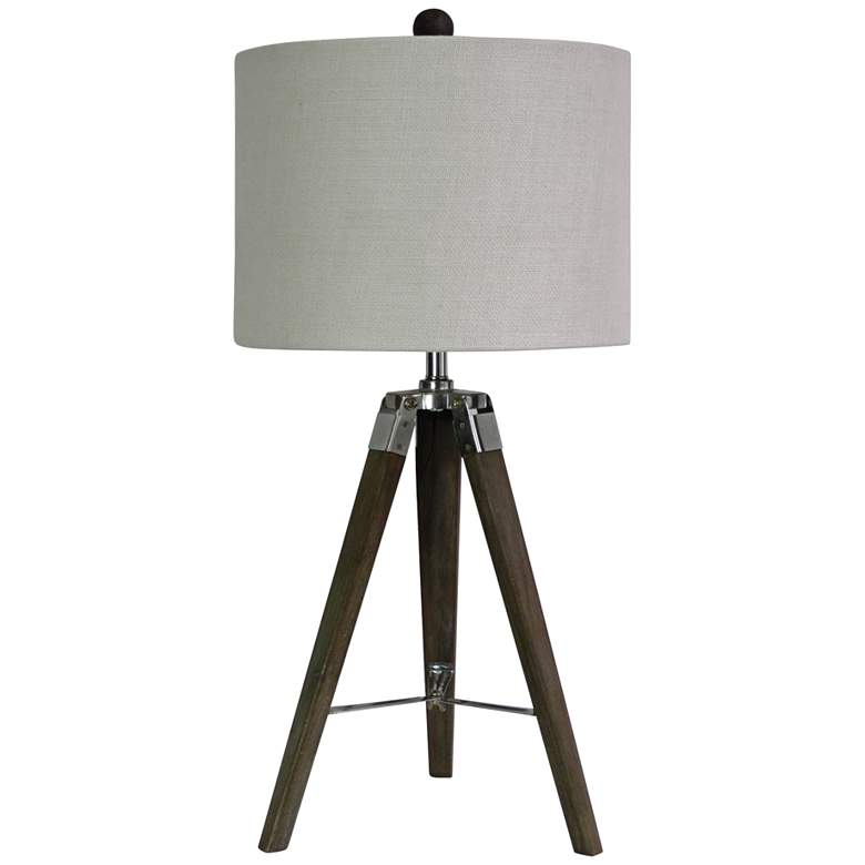 Manda Weathered Gray and Polished Nickel Tripod Table Lamp
