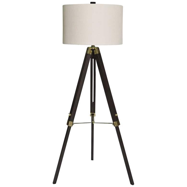 Manda Weathered Espresso and Antique Brass Tripod Floor Lamp