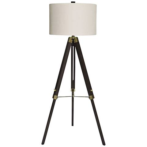 Manda Weathered Espresso and Antique Brass Tripod Floor Lamp