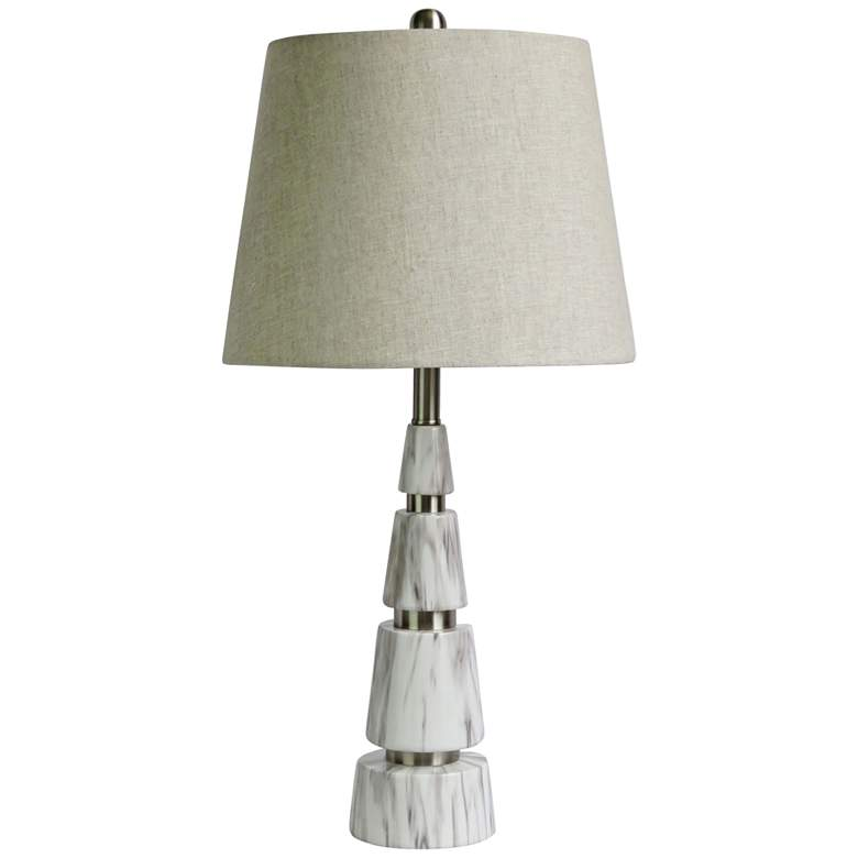 Alexa White Marble and Polished Nickel Pyramid Table Lamp