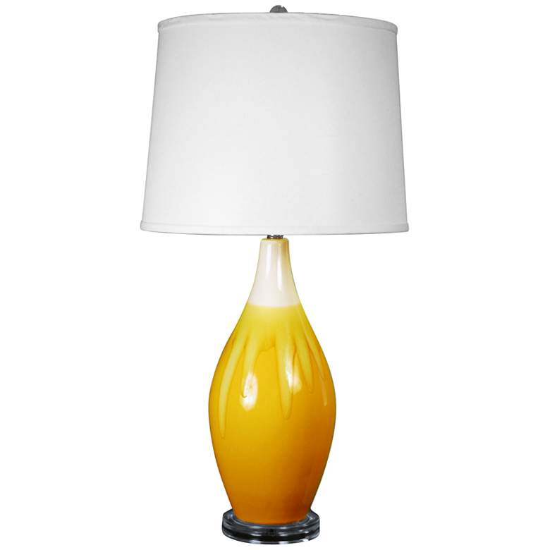 Sandrine Sand and Amber Crackle Drip Vase Ceramic Table Lamp