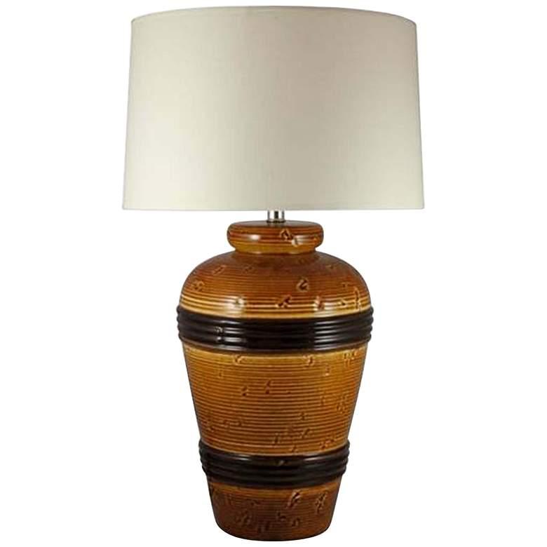 Favreau Spice Brown Ceramic Banded Pot Table Lamp