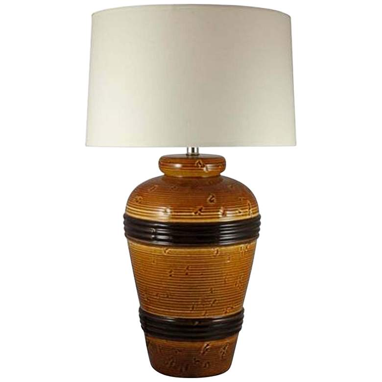 Favreau Spice Brown Ceramic Banded Pot Table Lamp