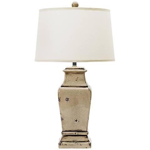Danya Shabby Transparent Gray Urn Ceramic Table Lamp
