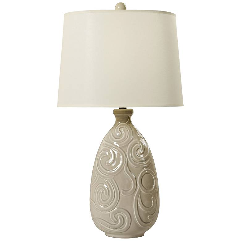 Raddatz Transparent Gray Curled Swirl Ceramic Table Lamp