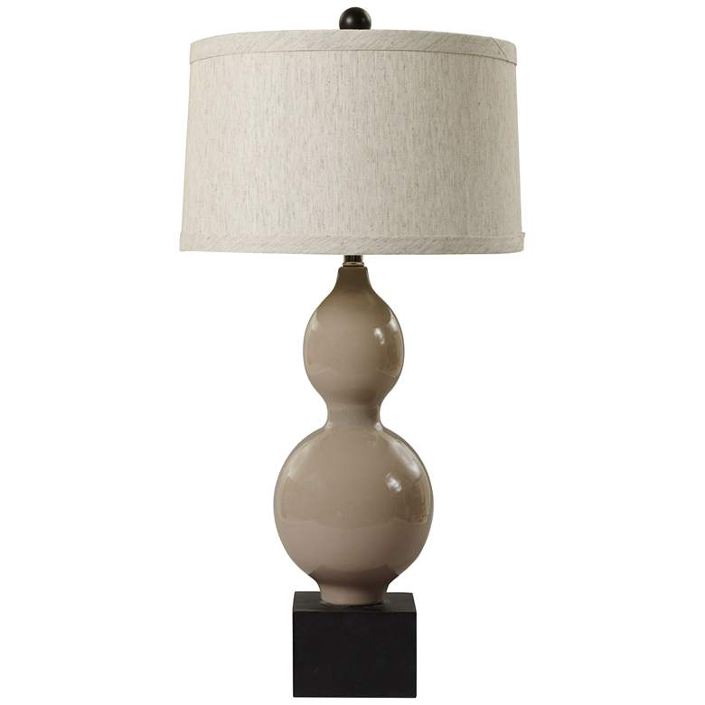 Alyssa Warm Gray Elongated Stacked Gourd Ceramic Table Lamp