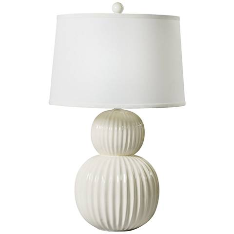 Saraya White Ribbed Ball Ceramic Table Lamp