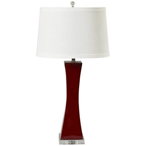 Vincenz Red Tapered Column Ceramic Table Lamp