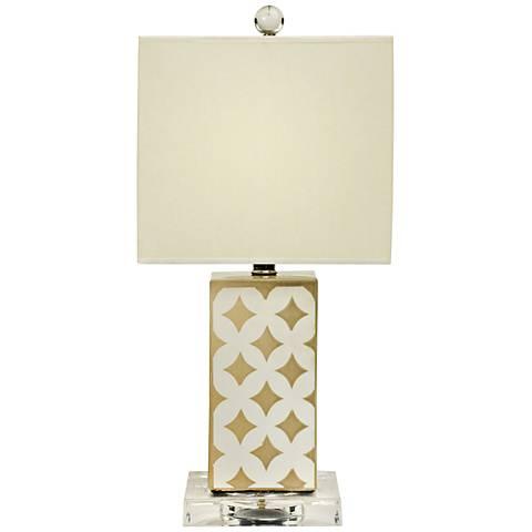 Kyla Transparent Gray Moroccan Diamond Accent Table Lamp