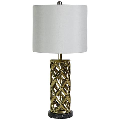 Saylor Plated Gold Woven Cylinder Cage Ceramic Table Lamp