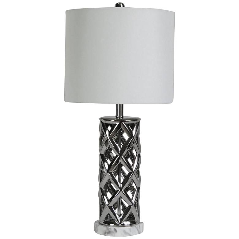 Saylor Nickel Plated Woven Cylinder Cage Ceramic Table Lamp