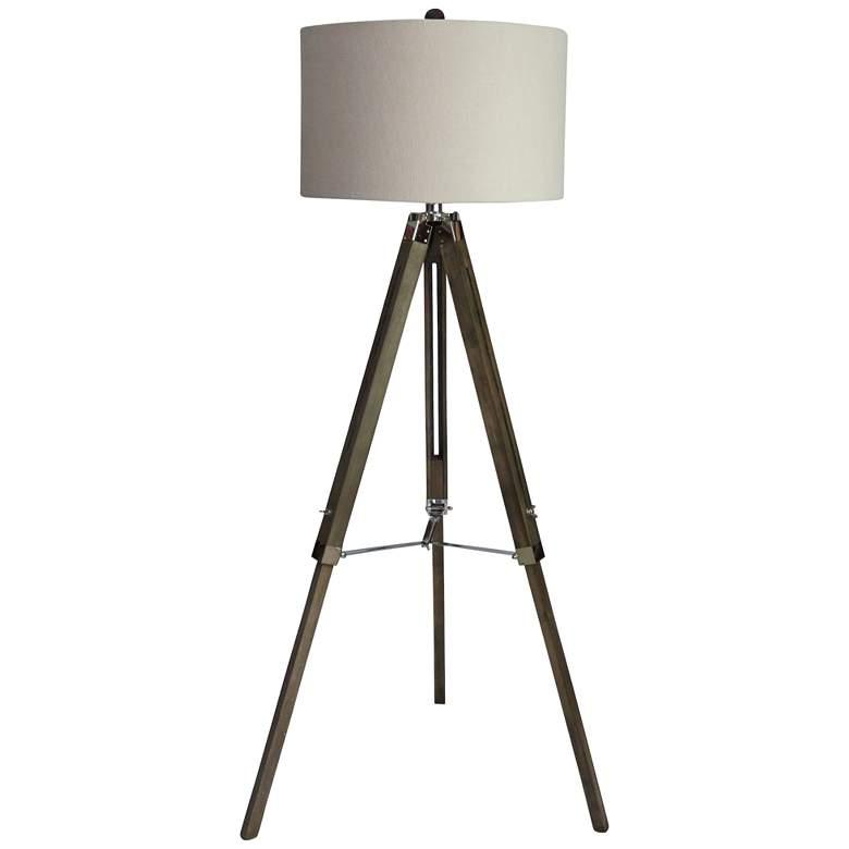 Manda Weathered Gray and Polished Nickel Tripod Floor Lamp