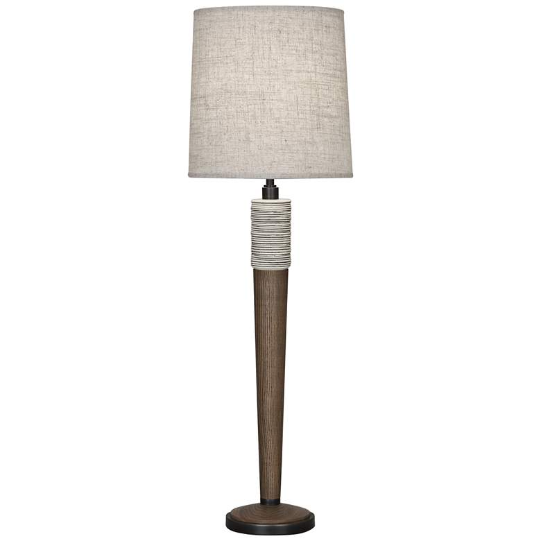 Berkley Walnut Wood Buffet Table Lamp w/ Bisque Linen Shade